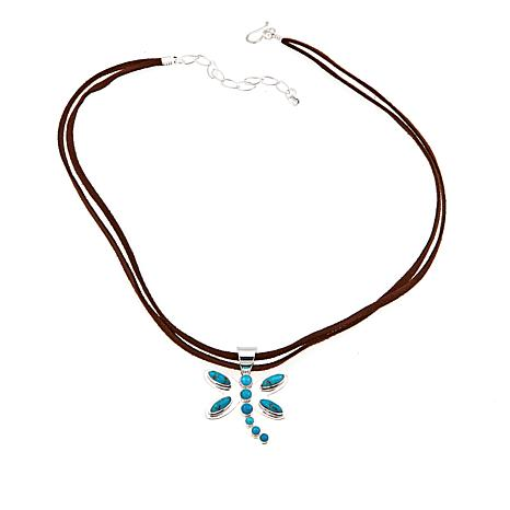Jay King Turquoise Dragonfly Sterling Silver Pendant with Necklace