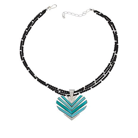 Jay King Turquoise Heart Pendant with Black Chalcedony Bead Necklace