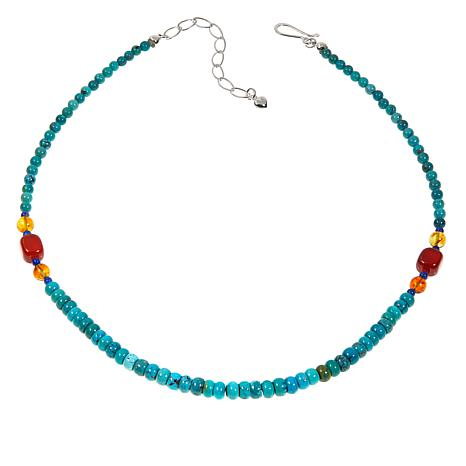"Jay King Turquoise Multigemstone 18"" Sterling Silver Necklace"