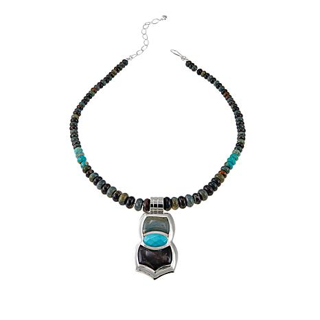 Jay King Turquoise, Petrified Wood and Jasper Pendant with Necklace