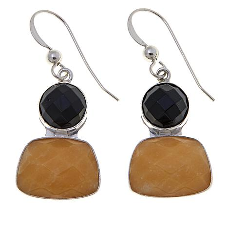 Jay King Yellow Aragonite and Black Agate Drop Earrings