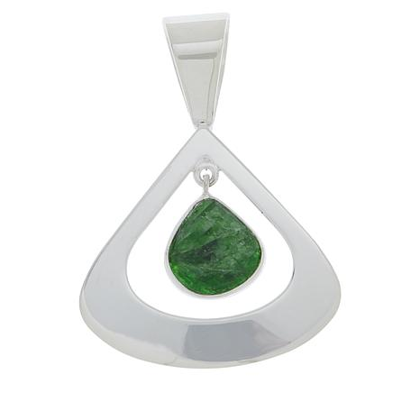 Jay Sterling Silver King Chrome Diopside Triangular Dangle Pendant