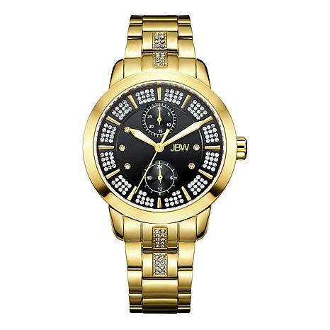 "JBW ""Lumen"" 6-Diamond Black Dial Goldtone Stainless Steel Watch"