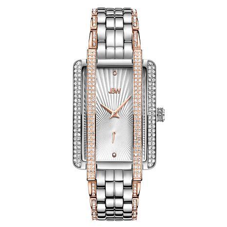 JBW Mink Two-Tone Stainless Steel Diamond and Crystal Bracelet Watch