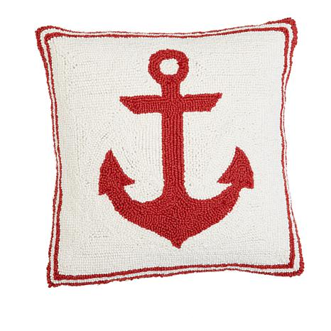 Jeffrey Banks Red Anchor Decorative Hand-Hooked Wool Pillow