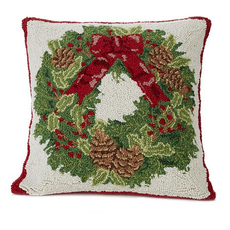 Jeffrey Banks Wreath Decorative Hand-Hooked Wool Pillow