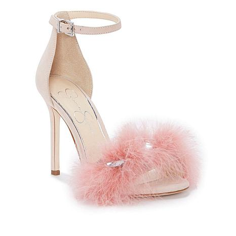 Jessica Simpson Jolinda Suede and Feather Sandal