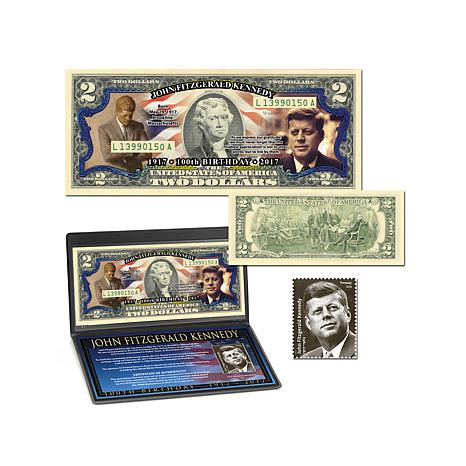 John F Kennedy JFK 100th Anniversary Colorized 2 Bill And Postage Stamp Set