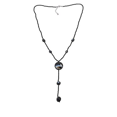 """JK NY 28"""" Colored Agate Beaded Station Y-Necklace"""