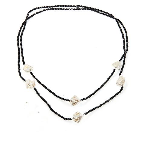 """JK NY 60"""" Simulated Pearl Beaded Station Necklace"""