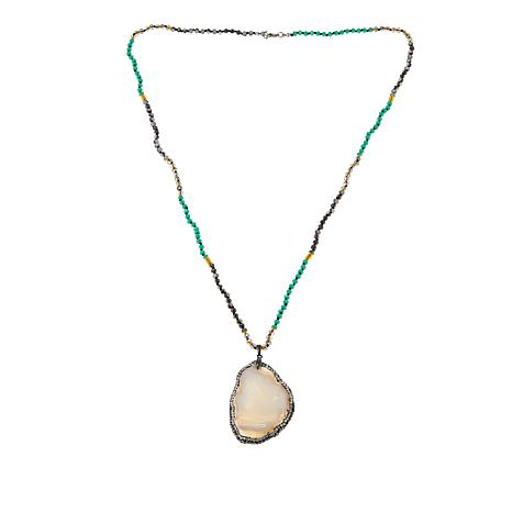 JK NY Ivory-Color Agate Slice Pendant with Faceted Bead Necklace