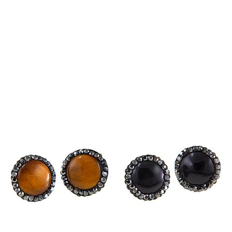 JK NY Mixed Color Pavé Frame Stud Earrings