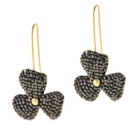 JK NY Pavé Stone Handcrafted Flower Earrings