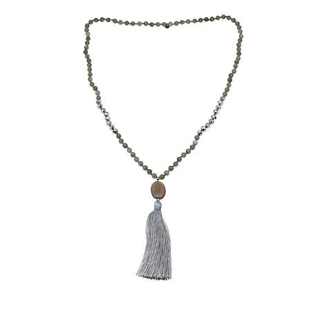 "JK NY Simulated Agate Beaded 31"" Tassel Necklace"