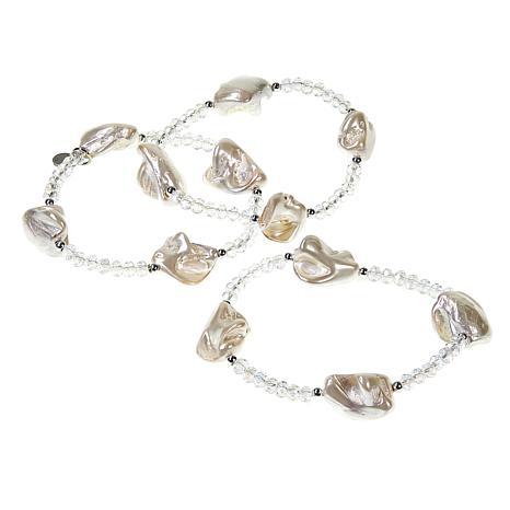 JK NY Simulated Pearl Beaded 3-piece Stretch Bracelet Set