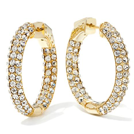 Joan Boyce Crystal Inside Out Skinny 1 Hoop Earrings