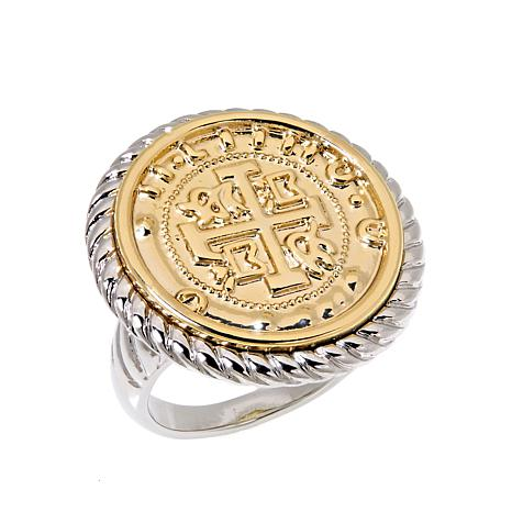 Joan Boyce Two-Tone Rope-Design Coin Ring