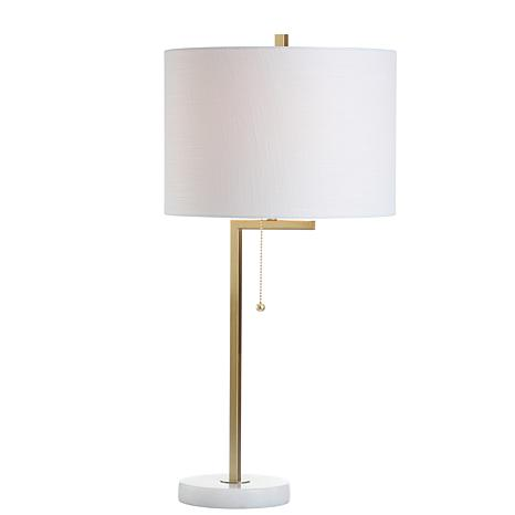 """Jonathan Y Alyssa 24.5"""" Metal Marble LED Table Lamp White and Gold"""