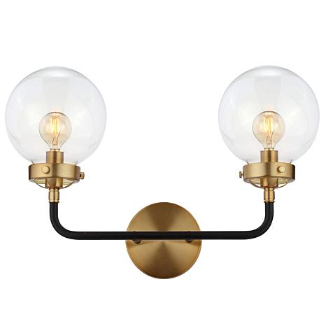"""JONATHAN Y Black and Brass Caleb 18"""" 2-Light Brass Wall Sconce"""