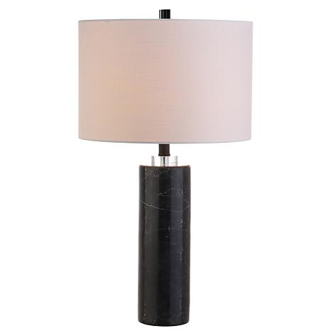"JONATHAN Y Black Marble Brooks 27"" Marble and Crystal LED Table Lamp"