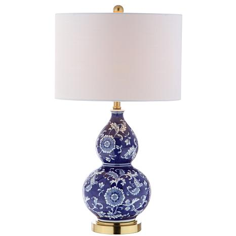 "JONATHAN Y Blue and White Lee 27"" Ceramic Chinoiserie LED Table Lamp"