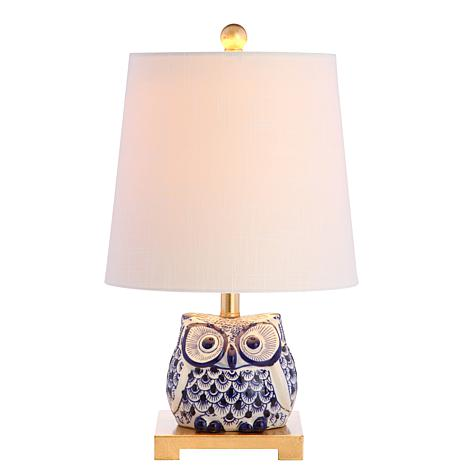 "JONATHAN Y Blue White Justina 16"" Ceramic Mini LED Table Lamp"