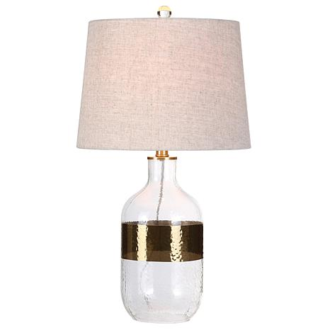 """JONATHAN Y Clear and Brass Stevens 25.5"""" Glass LED Table Lamp"""