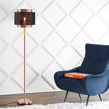 "JONATHAN Y Copper Black Tribeca 60.5"" Metal LED Floor Lamp"