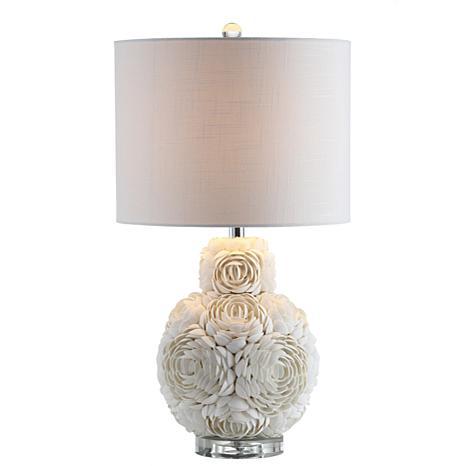 "JONATHAN Y Cream Seashell Rosette 24"" LED Table Lamp"