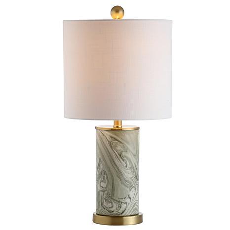 "JONATHAN Y Gray and Green Swirl 20.5"" Ceramic LED Table Lamp"