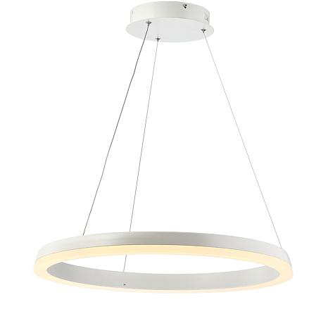 "JONATHAN Y Matte White Baxter 23.5"" Integrated LED Metal Hoop Pendant"