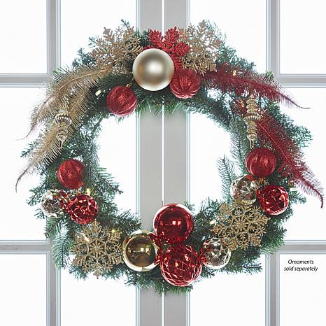 joy 24 pre lit forever fragrant holiday scented christmas wreath - Pre Lit Christmas Wreaths Battery Operated