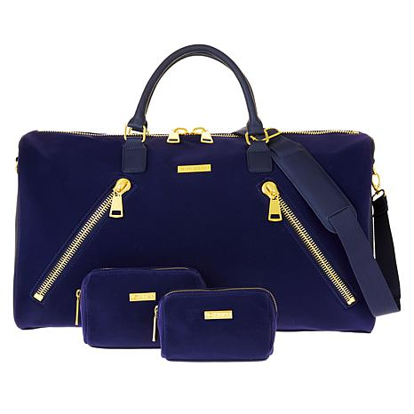 JOY & IMAN Luxe Velvet & Leather Duffle w/RFID & 2 Travel Pouches