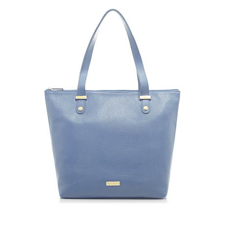 Joy Luxe Leather Lizard Embossed City Collection Handbag With Rfid