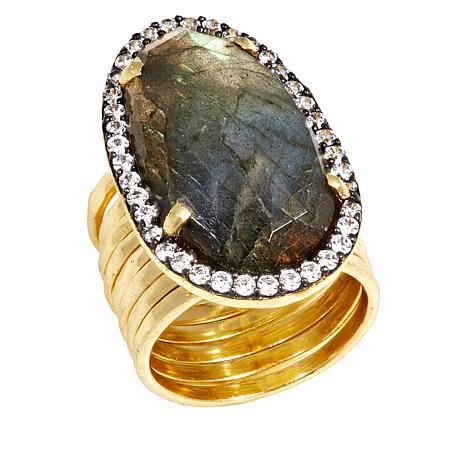 Joya Goldtone Sterling Silver Freeform Gem Pavé Frame Multi-Band Ring