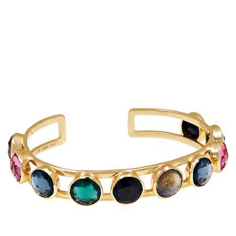 Joya Goldtone Sterling Silver Rainbow Multi-Stone Cuff