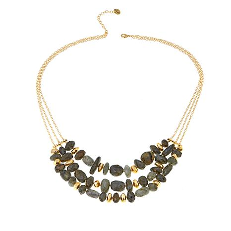 "Joya Labradorite Bead Goldtone 24-1/4"" Necklace"