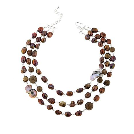 Joyce Williams Brown Cultured Freshwater Pearl 3-Row Necklace