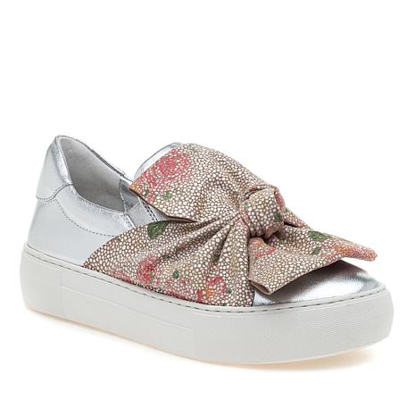 J/Slides NYC Audra Leather Slip-On Sneaker with Suede Bow