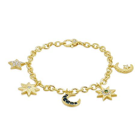 Judith Ripka 14K Gold Clad Gem and Diamonique® Moon & Stars Bracelet