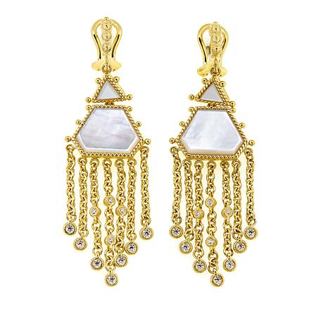 Judith Ripka 14K Gold-Clad Mother-of-Pearl and Diamonique® Earrings