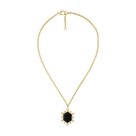 Judith Ripka 14K Gold Clad Onyx and Diamonique® Pendant with Chain