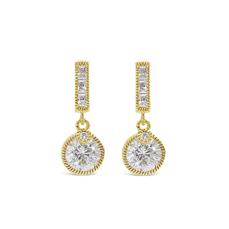 Judith Ripka Gold-Clad Diamonique® Round Drop Earrings