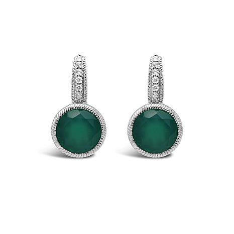 Judith Ripka Sterling Silver Chalcedony and Diamonique® Earrings
