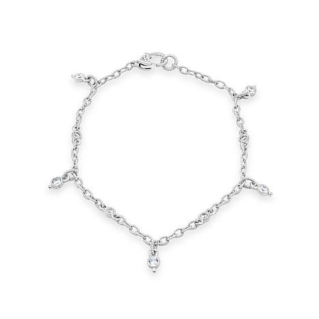 Judith Ripka Sterling Silver Diamonique® Dangle Oval Link Anklet