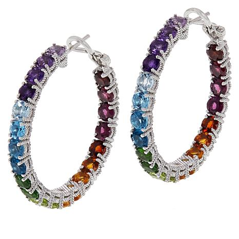 Judith Ripka Sterling Silver Multi-Gemstone Rainbow Hoop Earrings