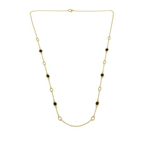 Judith Ripka Verona Collection 14K Gold Clad Gem & Oval Link Necklace