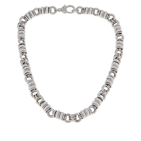 Judith Ripka Verona Sterling Silver Textured Rolo-Link Necklace