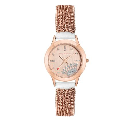 Juicy Couture Champagne Dial White  Leather and Tassel Accent Watch