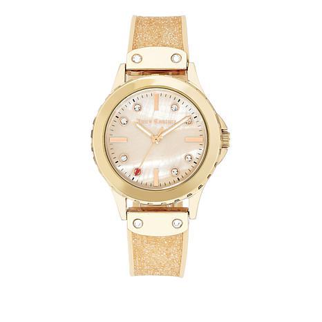 Juicy Couture Glittery Rosetone Bracelet Watch